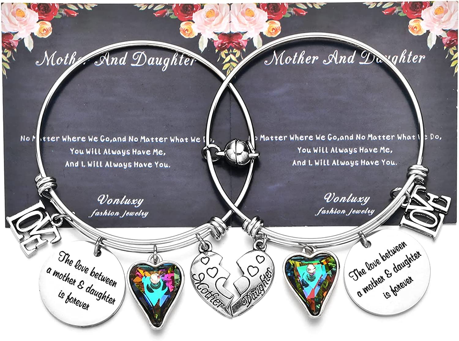 Vonluxy Magnetic Mother Daughter Bracelets Set for 2 Mothers Day Present from Daughter for Mom Mother of The Bride Gifts Matching Stainless Steel Bangle Charm Bracelet for Women Teen Girls