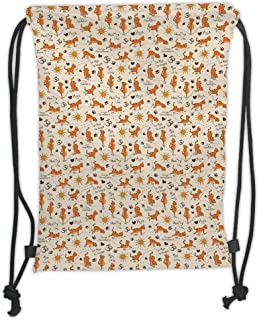 Drawstring Backpacks Bags,Cat,Do Yoga Be Happy Theme Orange Cats in Positions Smiling Suns Paws Prints Hearts Decorative,Cream Orange Brown Soft Satin,5 Liter Capacity,Adjustable S