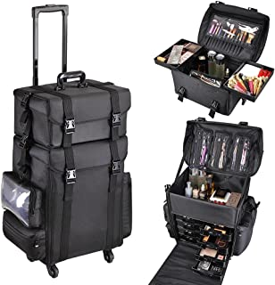 AW 2in1 Black Oxford Soft Sided Rolling Makeup Case Cosmetic Stroage Trolley 15x11x25