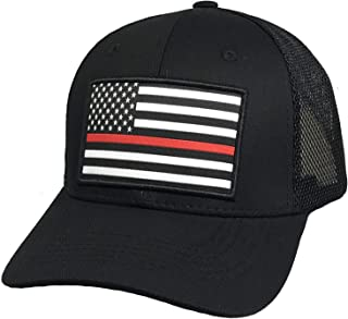 Prfcto Lifestyle USA Flag Trucker Hat with Thin Blue Line - Police Support Blue Line Flag Hat