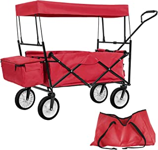 TecTake Carro de Mano Plegable con Techo carretillade Transporte para Utensilios Azul (Rojo   No. 401082)