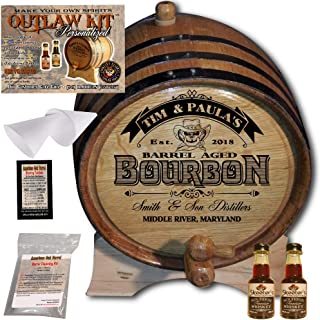 Personalized Whiskey Making Kit (102) - Create Your Own Tennessee Bourbon Whiskey - The Outlaw Kit from Skeeter's Reserve Outlaw Gear - MADE BY American Oak Barrel - (Oak, Black Hoops, 2 Liter)