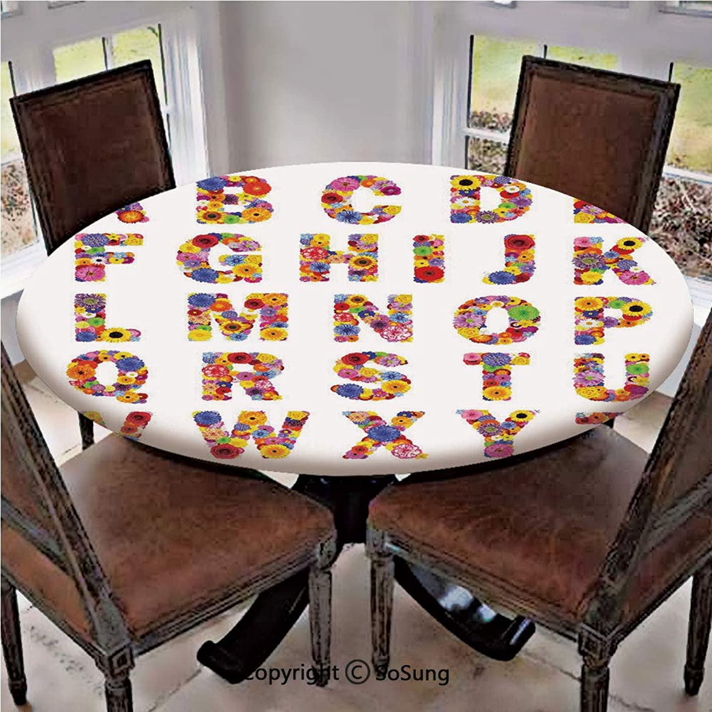 Elastic Edged Polyester Fitted Table Cover,Colorful Vibrant Alphabet with Flowers Gardening Plants Blooming Dahlia Cornflower Decorative,Fits up to 36