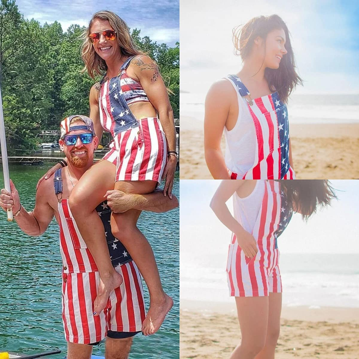 RJFYPX Couple Denim Overalls, Independence Day Overalls, American Flag Overalls