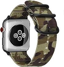 FINTIE Cinturino per Apple Watch 44mm 42mm, Nylon Tessuto Sport Regolabile Band con Fibbia Metallica Cinturini di Ricambio Accessori per Apple Watch Series 4 3 2 1, Camouflage Green