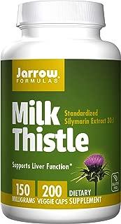 Jarrow Formulas Milk Thistle (Silymarin Marianum), Promotes Liver Health, 150 mg per Capsule, 200 Veggie Capsules