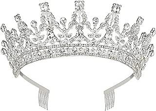 Makone Wedding Tiara Bridal Tiara Crystal Rhinestones Tiara Crown con peine para boda nupcial (Silver)