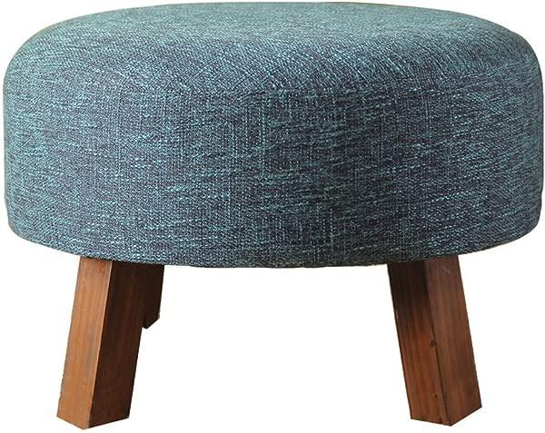 HCJSFD JCRNJSB 北欧时尚实木小凳子客厅沙发凳短凳布儿童凳鞋 50 50 35厘米可拆卸圆形短腿沙发凳木制 Benc