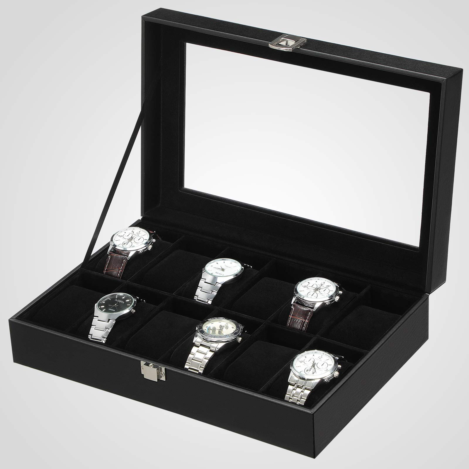 SONGMICS JWB12B-Caja (12 Compartimentos, Tapa de Cristal, Estuche para Relojes extraíble, Piel sintética), Color Negro, 32,5 x 19 x 8,5 cm: Amazon.es: Hogar
