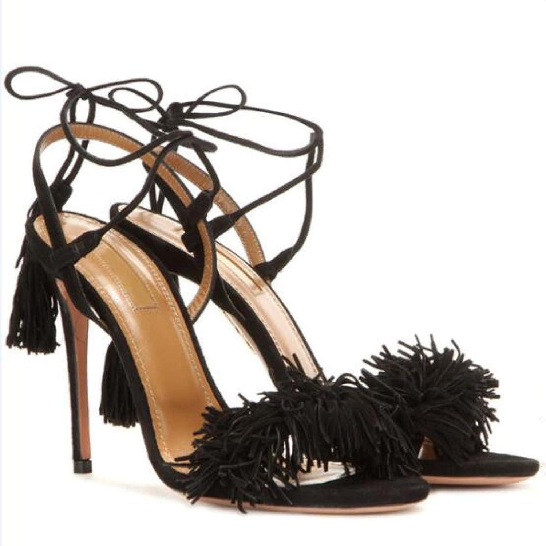 Summer Sandals Women High Heels Fringe Gladiator Sandals Women Lace Up shoes