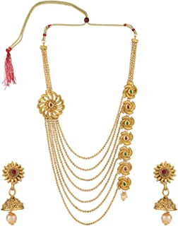 Indian Bollywood Traditional Multi Layered 14 K Gold Plated Crystal Kundan Wedding Temple Necklace Earrings Jewelry Set