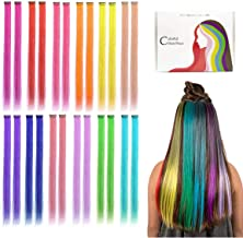 Kyerivs Colored Clip in Hair Extensions 20 inch Rainbow Heat-Resistant Straight Highlight Hairpieces Halloween Cosplay Dress Up Fashion Party Christmas Gift For Kids Girls 12 Color in 24 pcs