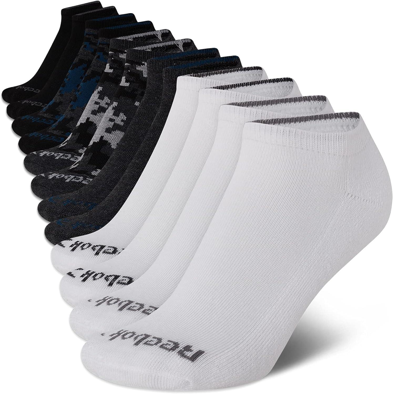 Reebok Boy's Cushion Comfort No-Show Low Cut Basic Socks (12 Pack)