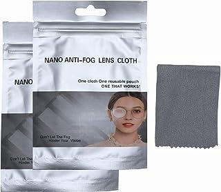 Lingettes anti buée lunette, lot 2 X chiffons anti buée de nettoyage réutilisable pour désembuer les lunettes avec port du...