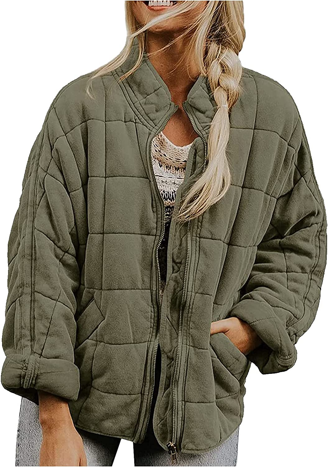 Women's Lightweight Quilted Jackets Long Sleeve Zip up Stand Neck Raglan Bomber Jacket Warm Winter Outwears with Pockets