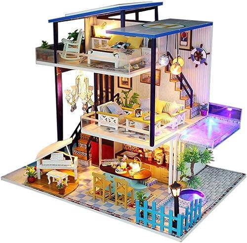 Puppenhaus H er Puppenhaus Handgefertigtes Diy Miniatur Puppen, Blau Sea Romance Theme, Jubil sgeschenk ohne tranSpaßenten Deckel und musikalische Bewegung
