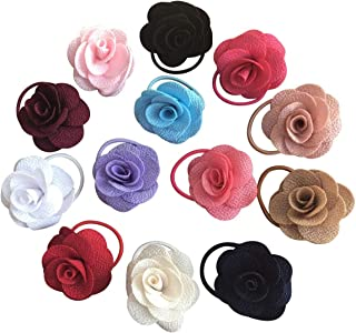 Baby Girls Hair Ties Rope,13PCS Small Seamless Hair Bands Ponytail Holder No Damage Flower Hairbands for Kids Toddlers