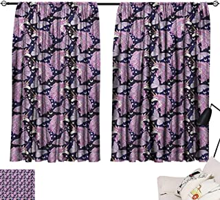 Tankcsard Room Darkening Wide Curtains Unicorn,Mythical Animal with Colorful Mane Butterflies Stars Crescent Moons Fantasy World,Multicolor 84