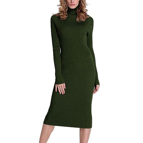 53006603be Rocorose Women s Turtleneck Ribbed Elbow Long Sleeve Knit Sweater Dress