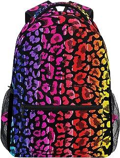 Mochila de piel de leopardo, bandana de colores, impermeable, mochila para el gimnasio, mochila para el gimnasio, diseño de animales de arcoíris