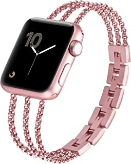 fastgo Compaible with Apple Watch Bands Bracelet 38mm 42mm /Iwatch Series 5 40mm 44mm Women Cuff, Stainless Steel Straps Wristband Compatible with Apple Watch Series 4 3 2 1