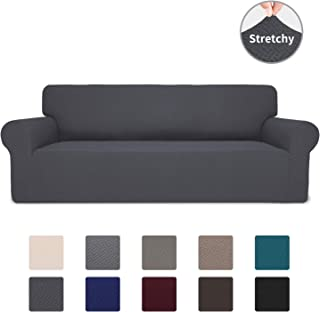 Easy-Going Stretch Jacquard Couch Cover, 1-Piece Soft Sofa Cover, Sofa Slipcover with Anti-Slip Foams, Washable Furniture Protector for Kids, Dogs, Cats (Sofa, Dark Gray)