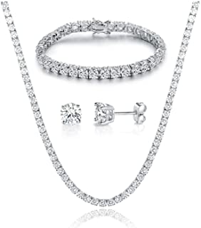 GEMSME 18K White Gold Plated Graduated Round Cubic Zirconia Tennis Necklace/Bracelet/Earrings Sets Pack of 3
