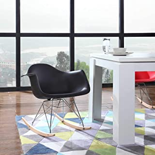 Mid Century Modern Rocking Chair, Kitchen Table Dining Chairs - Set of 2 Eames Style Armchair, Shell Plastic Rocker Lounge Desk/Dining Chair with Arms & Wood Legs, Side Chair for Living Room (Black)
