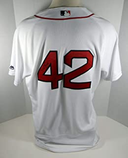 2017 Boston Red Sox Steve Selsky #42 Game Issued White Jackie Robinson Jersey - Game Used MLB Jerseys