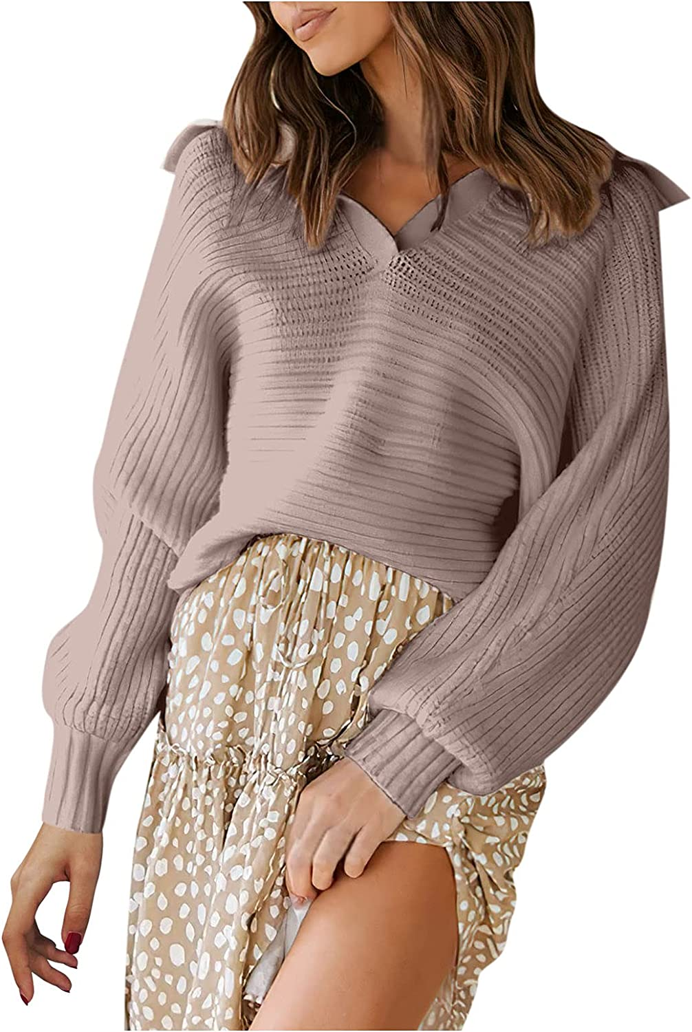 Womens Knit Sweaters V Neck Pullover Long Sleeve Plain Sweater Tops Casual Soft Fall Winter Knitwear Blouse Jumper Tops