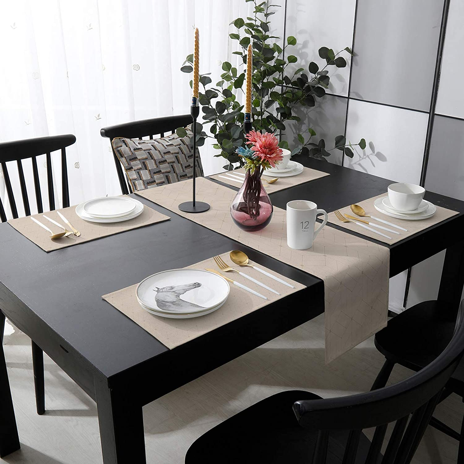 Reservation Outdoor Table Quality inspection Runner and 6 Kitchen Heat-Proof Placemats Cotton