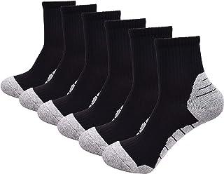 J.WMEET Men's Athletic Quarter Socks Compression Performance Thick Cushion Running Socks (6 Pack)