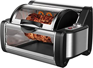 Flexzion Rotisserie Toaster Oven Grill - Countertop Kebab Electric Cooker Rotating Roaster Baking Machine Stainless Steel w/ 7 Kebob Skewers, Heat Resistant Gloves, Bake Ware for Professional & Home