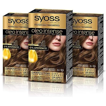 Syoss Oleo Intense - Tono 6-10 Rubio Oscuro (Pack De 3) – Coloración permanente sin amoníaco – Resultados de peluquería – Cobertura profesional de ...
