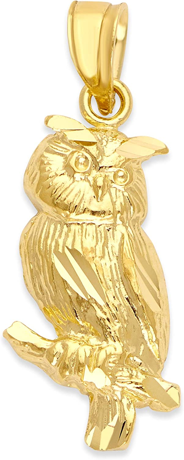 10k Real Solid Gold Owl Pendant Graduation Limited Special Price Special sale item f for Gifts Necklace