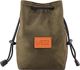 LATZZ カメラポーチ 革 ミラーレス デジカメ インナーバッグ 撥水加工 収納 巾着タイプ アウトドア 旅行 Mサイズ アーミーグリーン