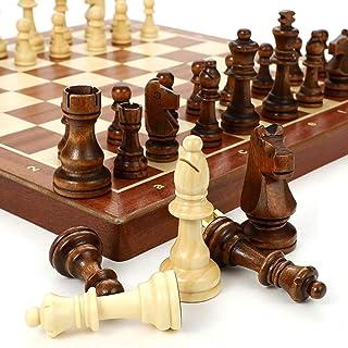QDY Chess Armory Wooden Chess Set - Amusingholiday Chess Set Travel Portable - Black Walnut(4545cm)