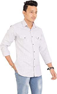 MD Casual Men's Cotton Casual Grey Shirt for Men Full Sleeves