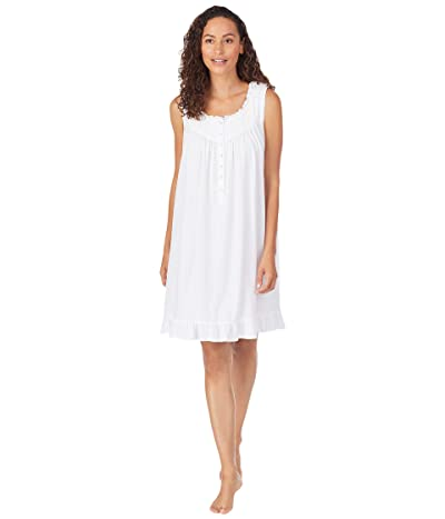 Eileen West Organic Cotton Jersey Knit Sleeveless Nursing Short Nightgown (White) Women