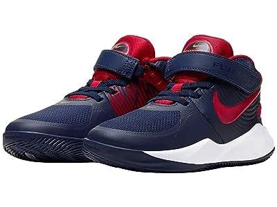 Nike Kids FlyEase Team Hustle D9 (Little Kid) (Midnight Navy/University Red/White) Kids Shoes