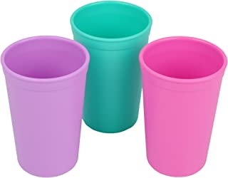 Re-Play Made in the USA 3pk Drinking Cups for Baby and Toddler - Purple, Aqua, Bright Pink (Sparkle)