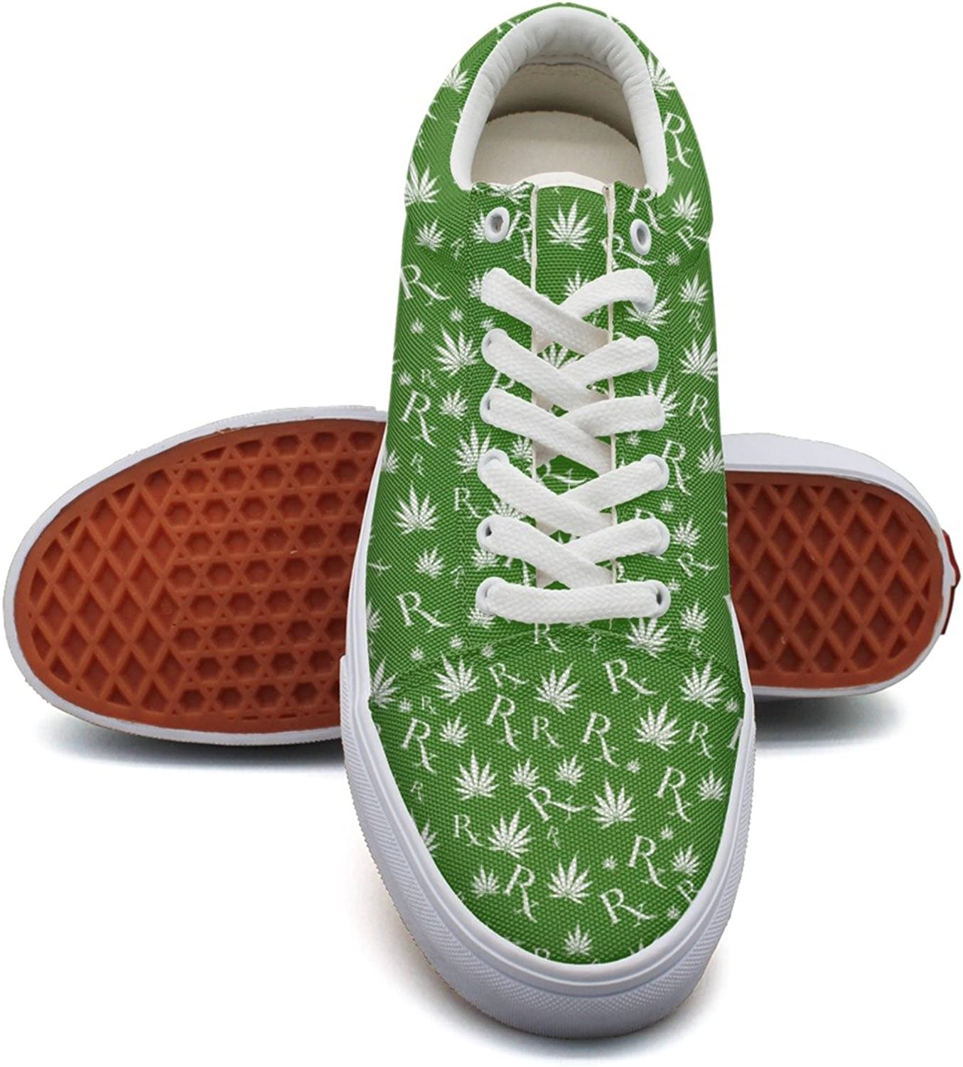 Milr Gile Distressed Faded Pot Leaf Print Sneaker Flat Canvas shoes for Womens Stylish