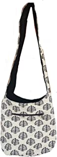 Rastogi Handicrafts Off White Tree Design Cotton Jhola Sling Shoulder Bag For Women Girl