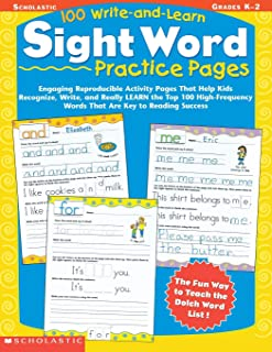 100write-and-learn sight كلمة ممارسة صفحات: Engaging reproducible نشاط صفحات والتي تساعد على للأطفال التعرف ، تيشيرت مطبو...