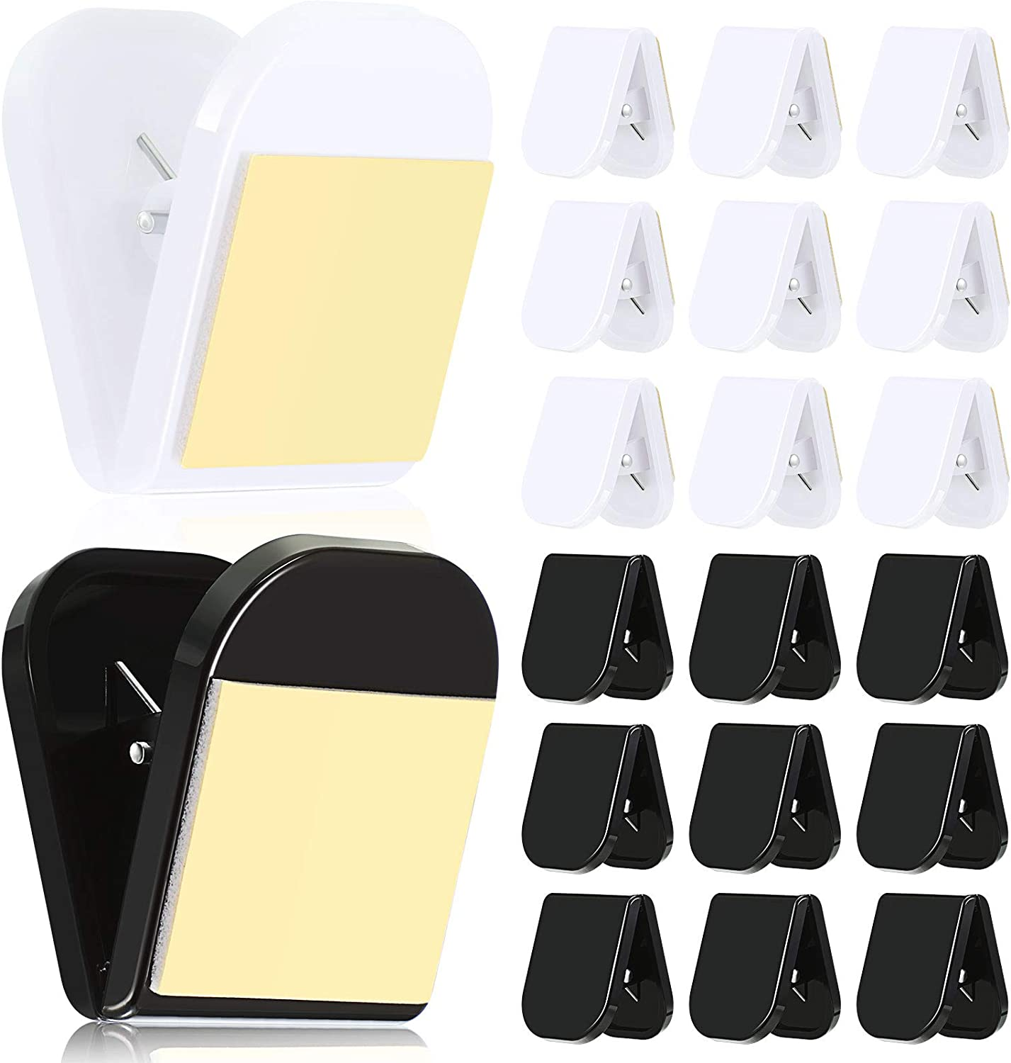 20 Pieces Self Adhesive Clips Wall Clips Tapestry Clips Photo Clips for Paper Flag Hanger, Double-Sided Adhesive Spring Clips for Home Office Rope Light Poster (Black and White)