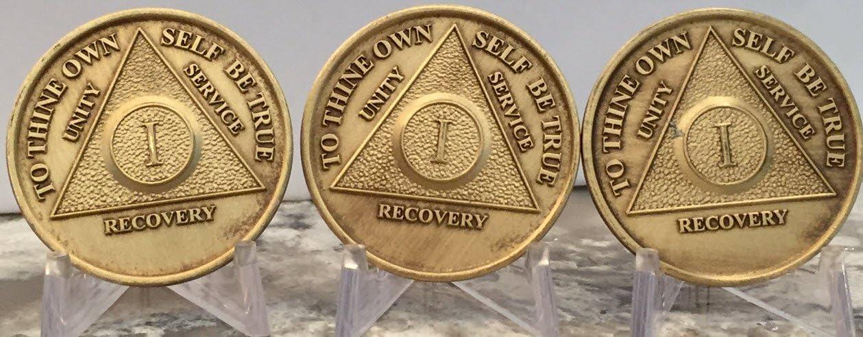 wendells Set of Mail order Super special price 3 AA 1 Anniversary Sobriety Bronze Medallio Year
