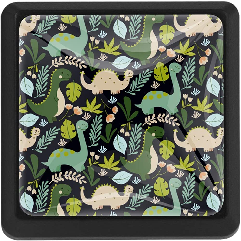 Miami Mall Shiiny Dinosaurs and Plants Square Drawer Knobs We OFFer at cheap prices Handles - Pulls