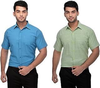DESHBANDHU Mens Formal Khadi Half Sleeve Shirts Combo Pack (Dblue,LGreen)
