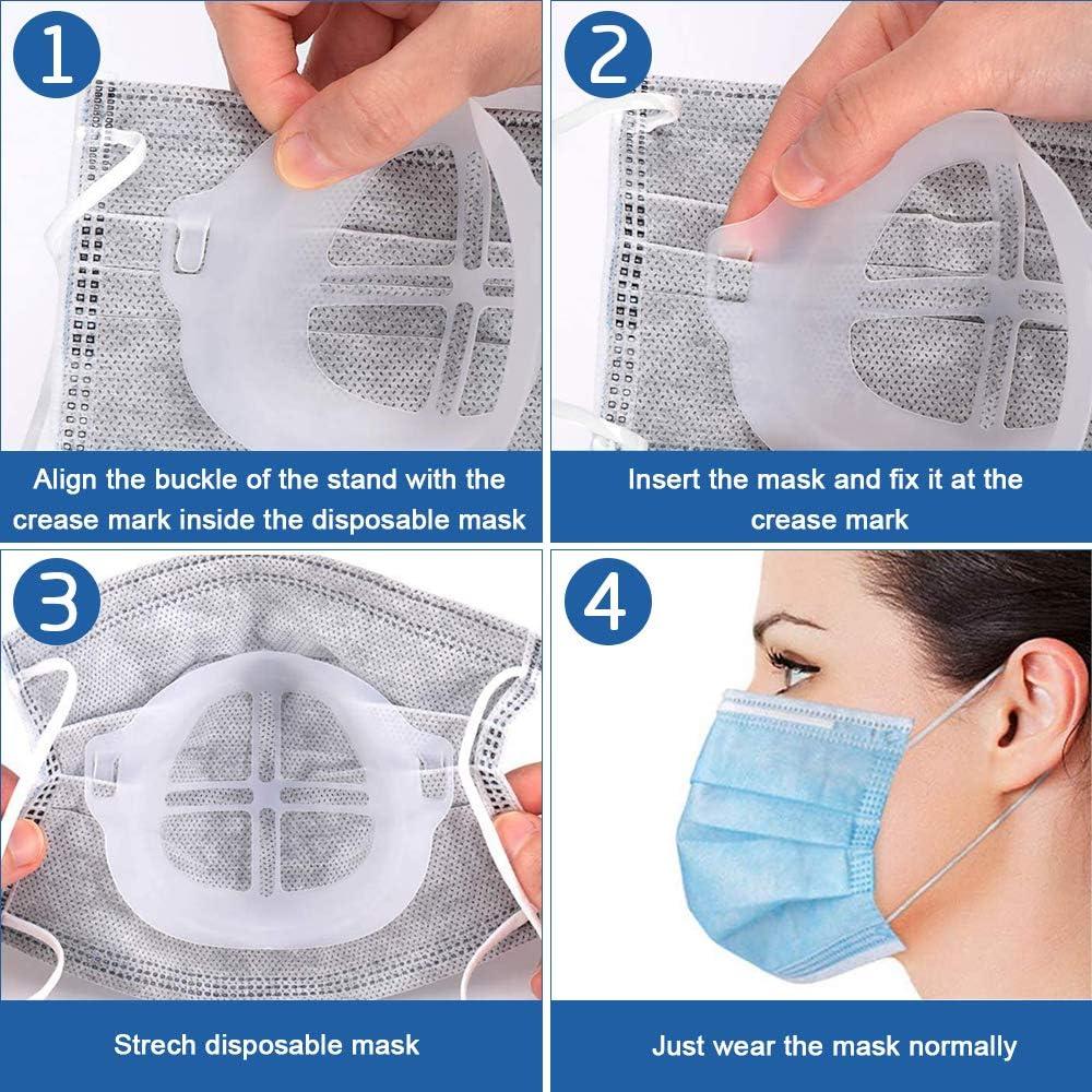 Mantiene la Tela Fuera de la Boca para Crear m/ás Espacio respiratorio Reutilizable Lavable transl/úcido TTCOTOKE Soporte 3D para Uso c/ómodo 10 Pack Marco de Soporte Interior de Silicona