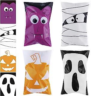 URATOT 200 Pieces Halloween Trick or Treat Bags Halloween Candy Bags Self Adhesive Candy Bags Clear Snacks Halloween Party...